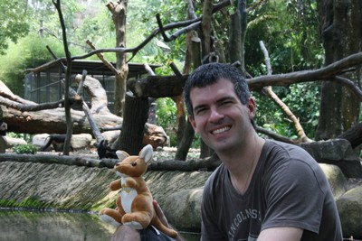 Brian and the Kangaroo in front of the monkey exhibit